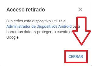 acceso retirado de dispositivo en cuenta de gmail