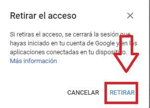 retirar el acceso a gmail