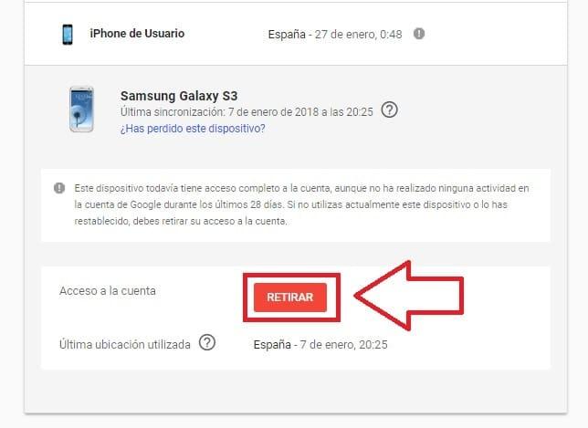 eliminar dispositivo vinculado a gmail.