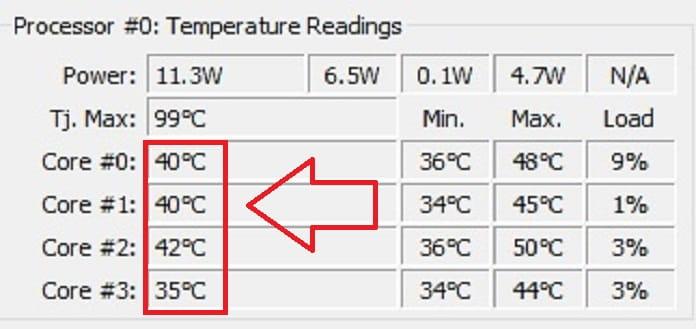 Temperaturas de la cpu de windows 10.