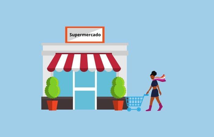 supermercado concurrido