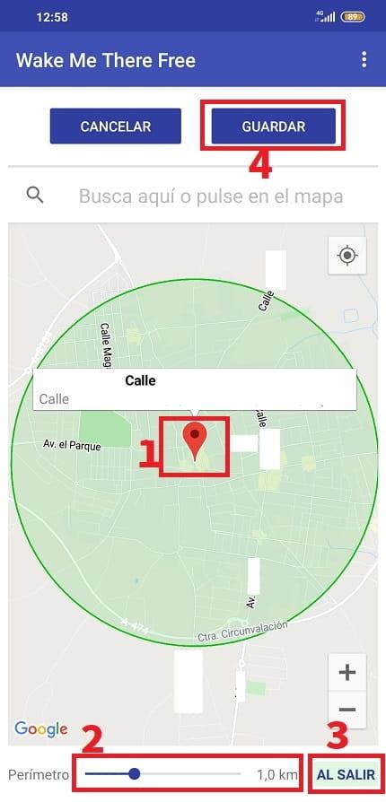 saber si estoy a más de 1 km de mi casa.